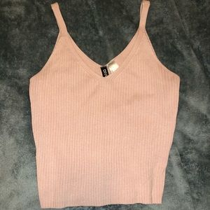 Pink ribbed tank top